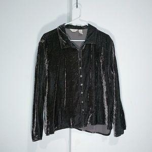 J.jill dark chocolate velvet buttondown shirt Grea